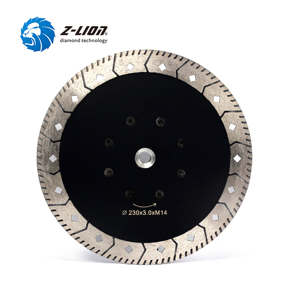 Z-LION 230mm Diamond Cutting & Grinding Saw Blade M14 Flage 9 Granite Marble Grinding Disc Saw Blade Grinder Disk 8 200mm diamond dry cutting disk saw blade plate wheel with long short protective teeth for dry cutting granite sandstone