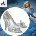 2016 Золушка Хрустальная туфелька с деньгами отметил туфли на высоком каблуке кожа штраф с горный хрусталь блестки стекло невесты свадебные туфли
