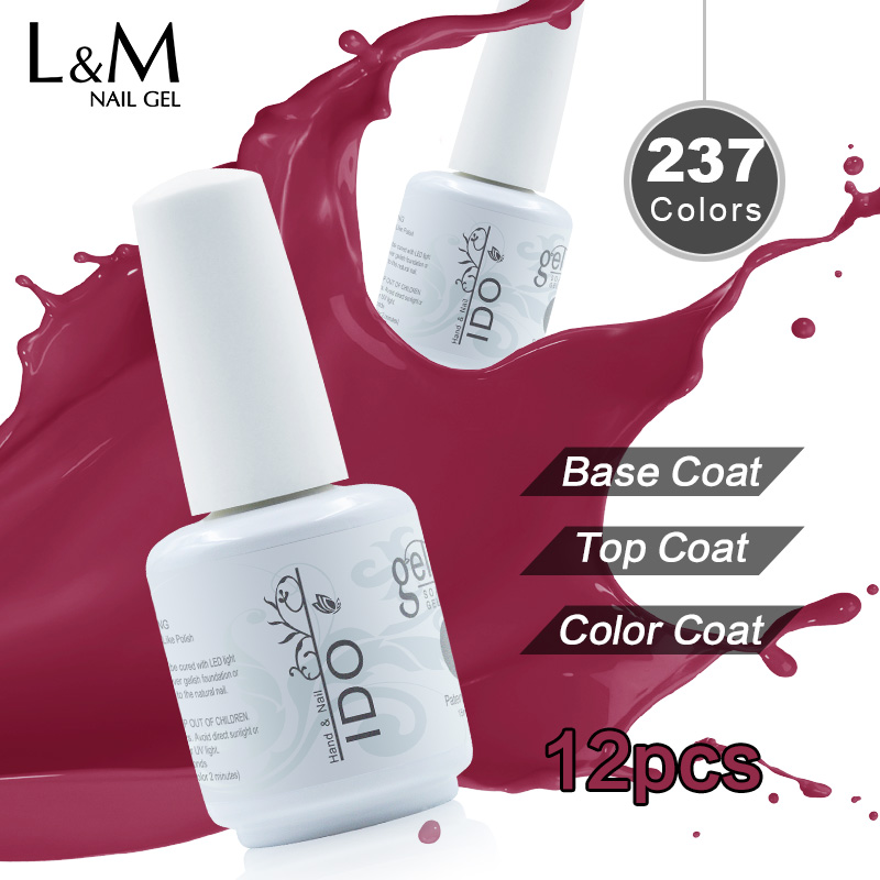IDO Gel Nails Polish Set Uv Gel Lacker Skönhet 12st Gratis frakt (10 Färg + 1 Top + 1 Base) Suga Av 15 ML Nail Gelpolish Primer