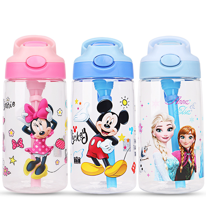 Kids Frozen Elsa Anna Mickey Minnie  Feeding Cups Water Bottle Baby Princess Children Boys Cars Girls Protable Bottle