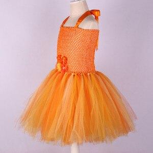 Image 3 - Handmade Flower Girl Tutu Dress for Children Orange Halloween Pumpkin Costume Kids Girl Tulle Performance Birthday Party Dresses