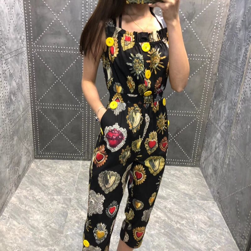 Women girls fashion cute vintage metal hearts print cotton jumpsuit big buttons spaghetti strap calf length jumpsuits black