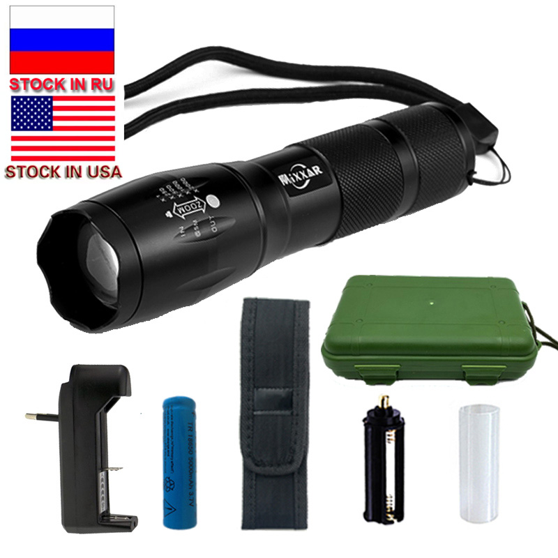 ZK20 T6 8000LM LED Flashlight 5 Mode Zoomable LED Torch Waterproof Torch Lights Bike Light 18650 Battery Stock in RU zk20 t6 8000lm led flashlight 5 mode zoomable led torch waterproof torch lights bike light 18650 battery stock in ru