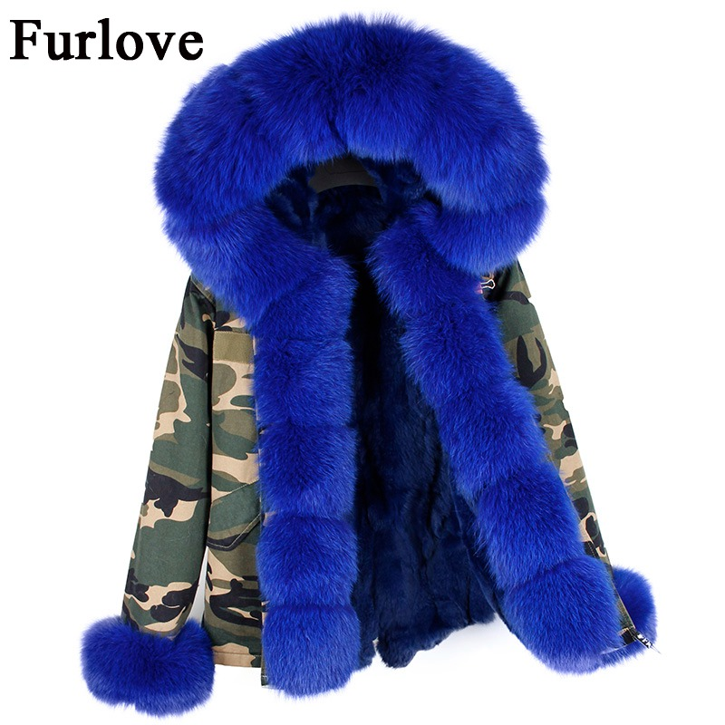 Silver black coats real fox fur collar hooded parkas natural rabbit fur lining winter jacket women parka coat warm thick jackets 2017 winter new clothes to overcome the coat of women in the long reed rabbit hair fur fur coat fox raccoon fur collar