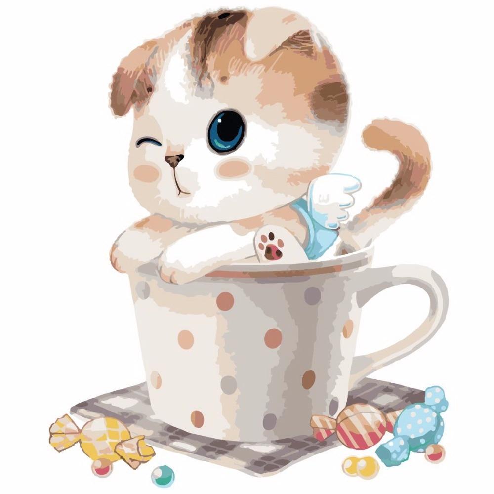ᗜ LjഃTaza gato lona con marco decoración del hogar pintura al óleo ...