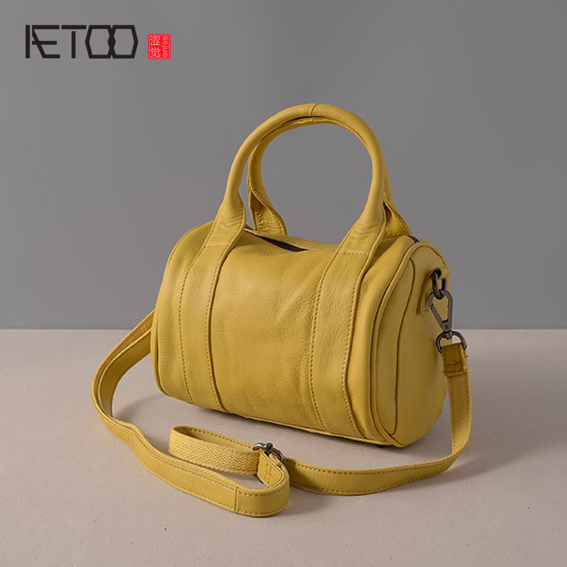 AETOO New leather handbag Boston bag Europe and the United States fashion pillow shoulder Messenger bag leather handbags aetoo new europe and the united states retro leather handbag shoulder bag head cowhide female messenger bag ipad package