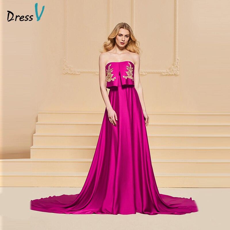 Dressv fuchsia evening dress strapless a line appliques sleeveless ...