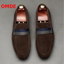 OMDE New Fashion Suede Men Loafers Handmade Slip On Men Shoes Leather Flats Breathable Casual Shoes Men's Smoking Slippers 2016 new fashion men leopard cotton fabric shoes british mens flats smoking slippers men loafers casual shoes plus size 4 17