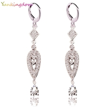 2 Colors Vintage Eardrop Earrings for Women  Zircon Crystal Long Earring Earings Women Jewelry Gifts