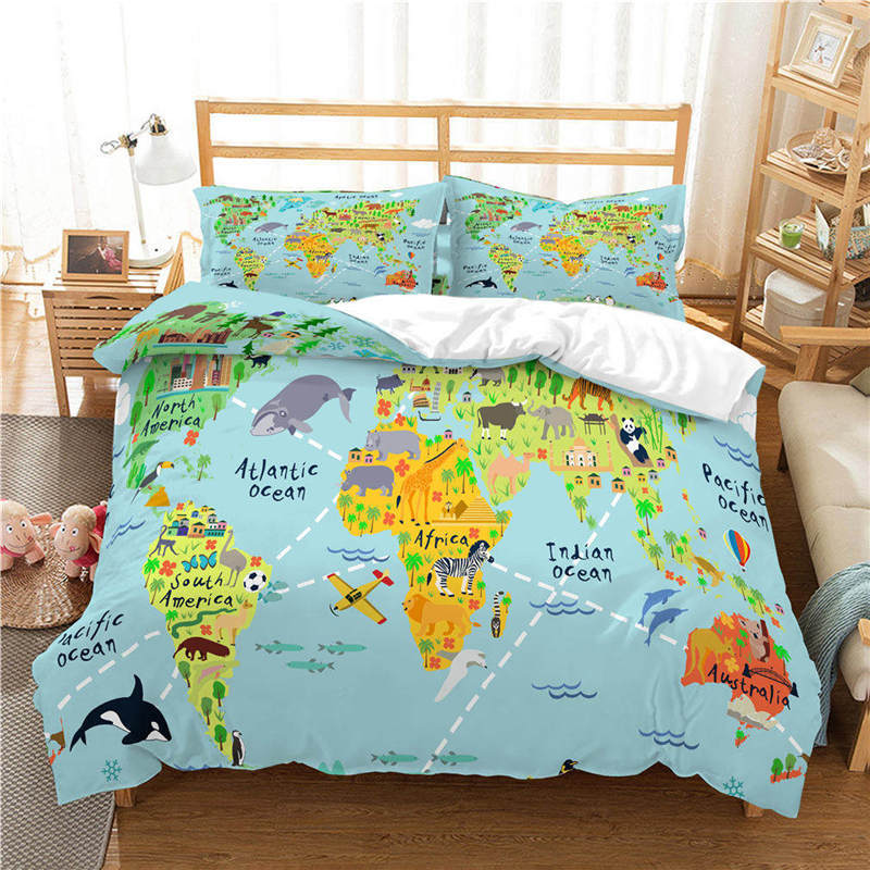 US $26.0 35% OFF|WAZIR world map 3D Reactive printing bedding set duvet  cover Pillowcases comforter bedding sets Country map bedclothes bed  linen-in ...