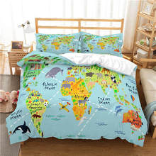 WAZIR world map 3D Reactive printing bedding set duvet cover Pillowcases comforter sets Country bedclothes bed linen