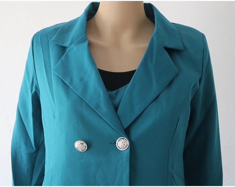 Autumn Business Suit Elegant Office Dress Lady Work 2 Pieces Set Long Sleeve Blazer and Sleeveless Dress Suit Set 38
