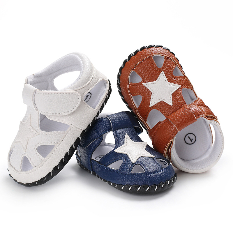 Children's Summer PU Leather Hot Sale Newborn First Walkers Baby Shoes Baby Boy Soft Shoes Five-pointed Star Pattern Baby Slip T