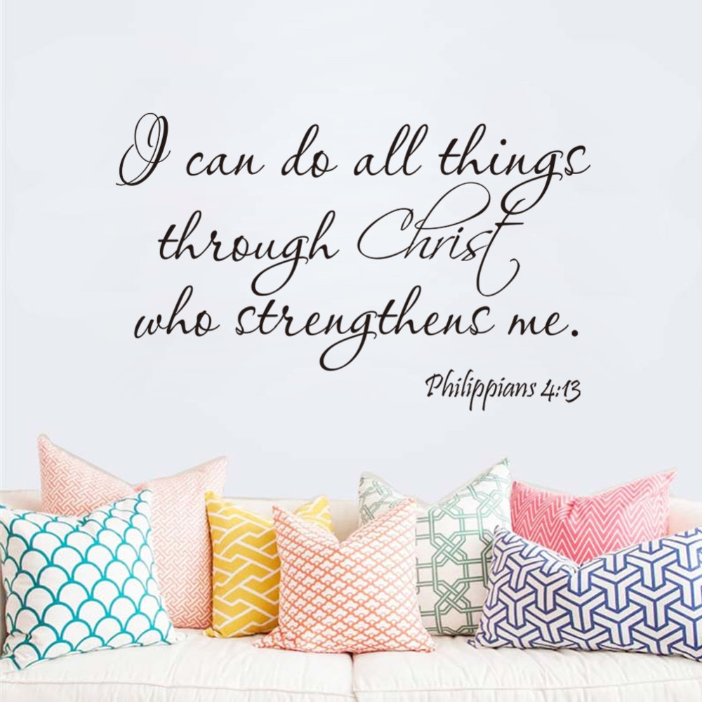 Aliexpress buy 8483 christ strengthens me bible quotes wall aliexpress buy 8483 christ strengthens me bible quotes wall decals god removable vinyl wall stickers home decor wall art decals from reliable quote amipublicfo Image collections