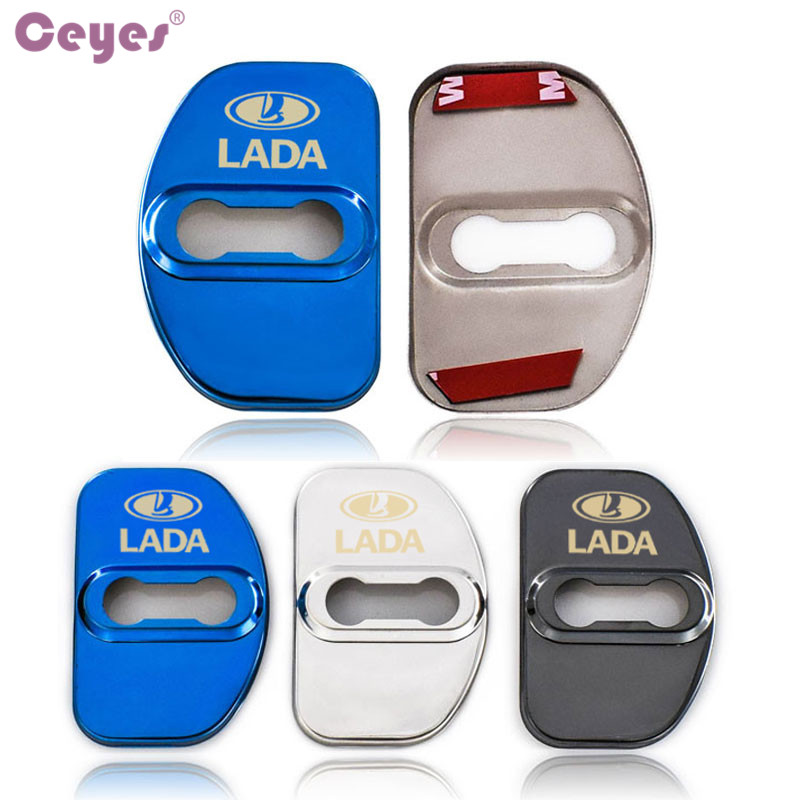Ceyes Car Styling 4pcs Auto Waterproof Door Lock Cover Case For Lada Vesta Xray Emblems SW Cross Badge Accessories Car-Styling