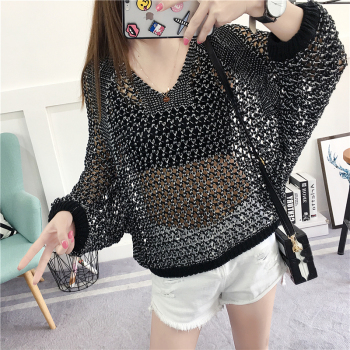Oversized Loose Korean style Women Tops Hollow O-neck Long sleeve Jumper Ladies Pullover Plus size Casual Female Knit Sweater 1