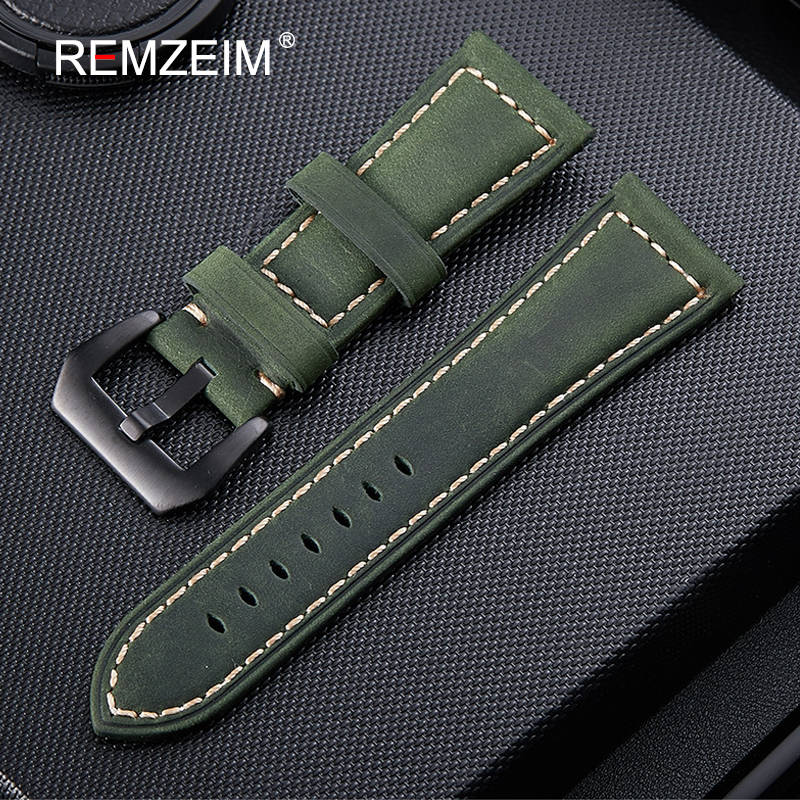 Scrub Genuine Leather 20mm 22mm 24mm 26mm Watch Band Green Brown Black Crazy Horse Leather Strap Watchband With Black Buckle watchbands black brown leather watch strap band genuine soft buckle wrist replacement fits mens relojes hombre 2016 18 20mm 26mm