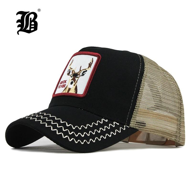 [FLB]   Baseball     Cap   For Men Women Summer Mesh Embroidery Buck Trucker Bones Snapback Hip Hop Hat Casual Cotton Casquette   Cap   F193
