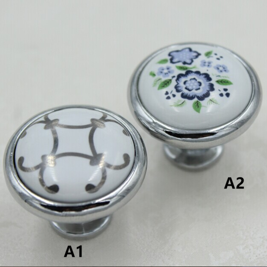 32mm Silver Kitchen Cabinet Knobs Blue Flower Ceramic Drawer Pull Silver chrome Dresser Wardrobe Handles Pull Knob modern simple игрушка ecx torment silver blue ecx03033t1