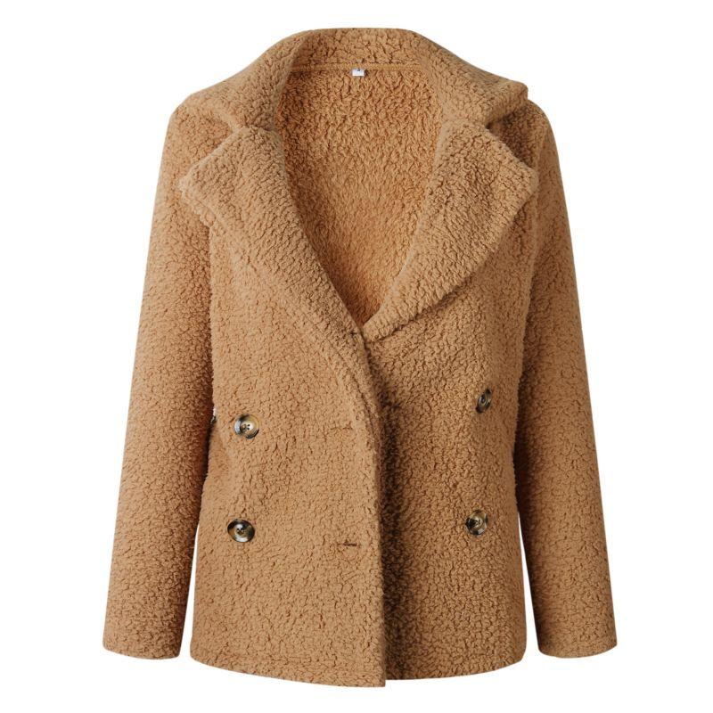 Más el tamaño de las mujeres de otoño e invierno abrigo de solapa bolsillo Botón de manga larga de Color sólido caliente de lana prendas chaqueta 2018 nueva llegada