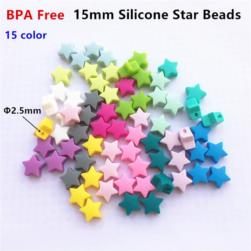 Chengkai 50pcs 15mm BPA Free Silicone Star Beads DIY Baby Dummy Pacifier Nursing Teether Chewing Jewelry Toy Gift Accessories
