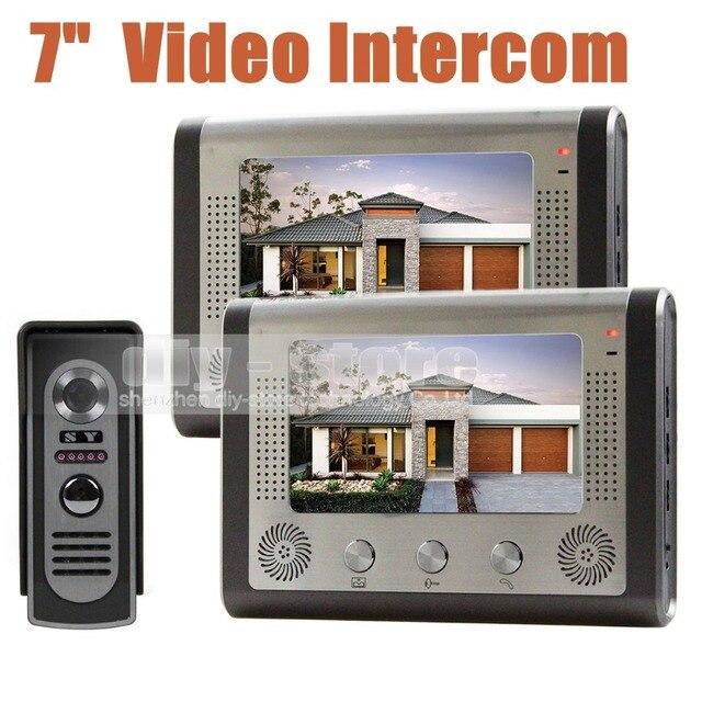 DIYSECUR 7 дюймов Проводной Видео Домофон Дверной Звонок Система Комплект домашней Безопасности Вход 2 Способ Домофон 2 Монитор 1 ИК-Камеры