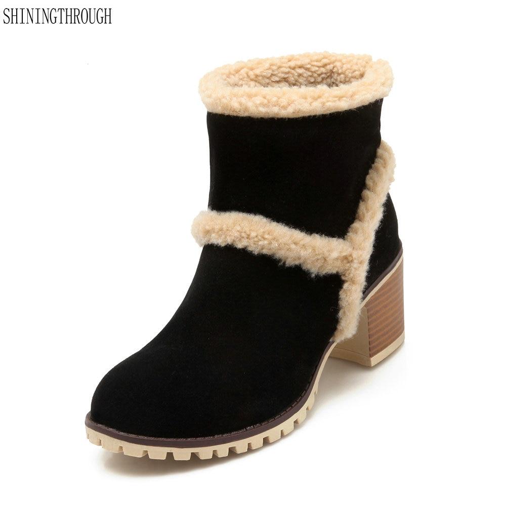 93ae21402 Suede Animales Albaricoque Botines Negro marrón Zapatos Mujer Caliente Moda  Marca Botas Marrón Pieles Nieve negro Invierno ...