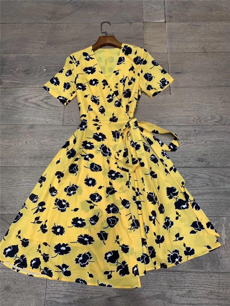 Women chiffon leopard print sexy dress short sleeve kimono V neck floral yellow summer dresses 2019 new