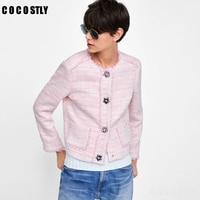 2018 Autumn Jackets Women O neck Tweed Coat Buttons Slim Pink Elegant Women Tweed Jackets