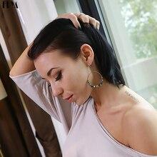 Bohemia crystal earrings for women Ethnic big circle round rings hollow tassel earring Vintage metal wooden beads earing jewlery