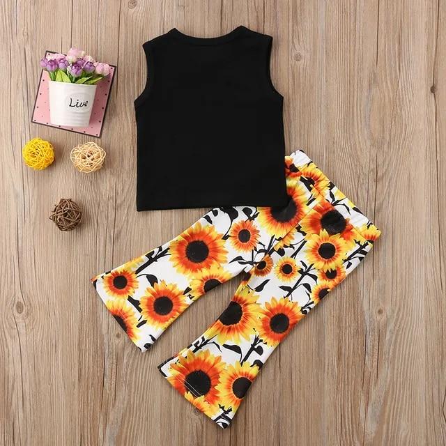 1-6Y Flower Child Baby Girl Sleeveless Vest T-shirt Tops+Sunflower Bell-bottom Flared Pant Trouser 2PCS Outfits Children Set