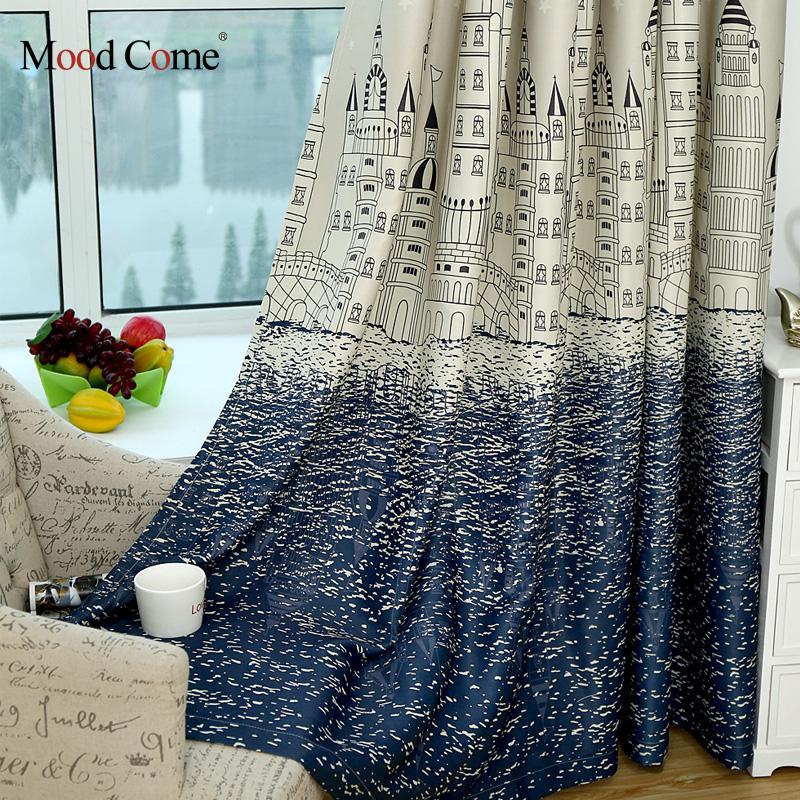 castillo de dibujos animados ventana cortinas para la sala de nios de los nios nias beb