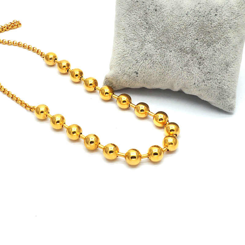 New Fashion Stainless Steel Personality Necklace Gold Color Round Beads Chain Wholesale For Women Kolye N03293