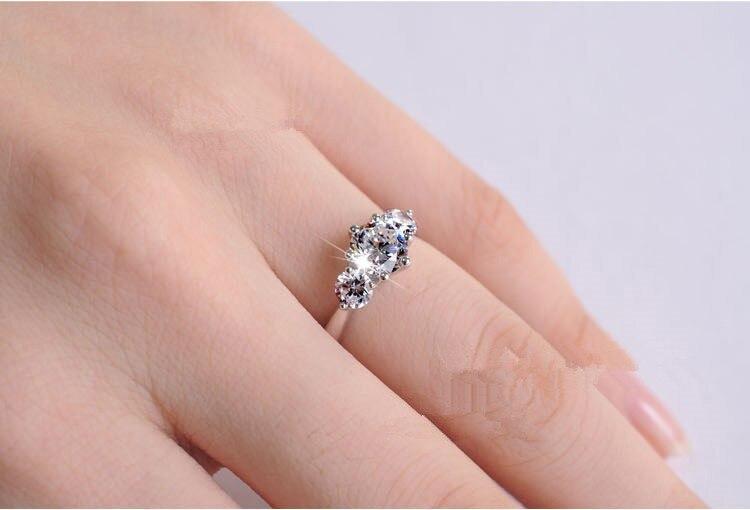 Три камня Тест Положительный 3.2Ct обручальное кольцо для женщин Твердые AU750 Белое золото свадебные ювелирные изделия