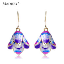 Madrry Enamel Flower Earrings For Women Fish Hook Brincos Simulated Pearl Beads Ear Piercing Bijuterias Pendientes Aretes Bijoux