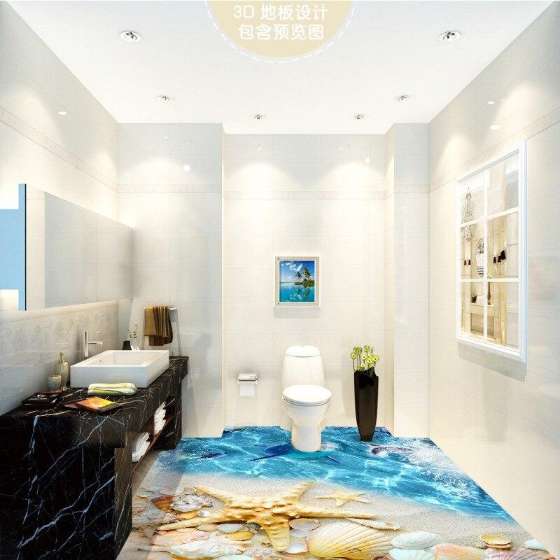 Free Shipping 3D surf beach shell sea star living room bathroom kitchen balcony floor wallpaper mural