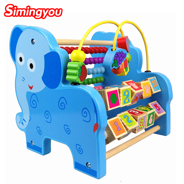 Simingyou Wooden Puzzle Toys For Kids Animal Flap Around The Beads To Calculate The Frame Educational Toys For Children SY22