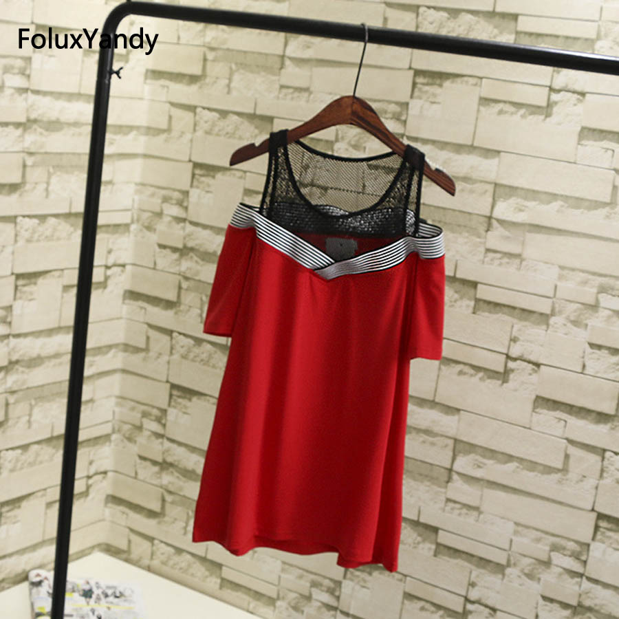 Lace Off the Shoulder Women T-shirts Plus Size 3 4 XL Short Sleeve V-neck Summer Tops Tees SWM418