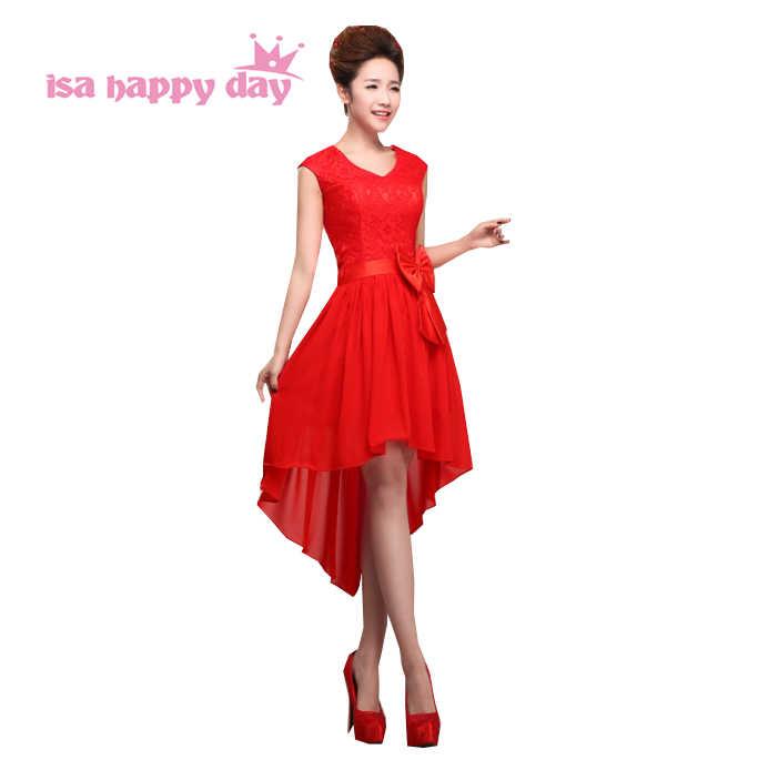 הגעה חדשה שיפון קצר קדמי ארוך בחזרה אדום הברך אורך v צוואר שמלת פורמליות נשף שמלת 2019 נשים שמלות גבוהה נמוך H1360