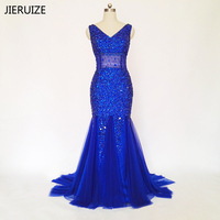 JIERUIZE 로브 드 야회 로얄 블루 인어 이브닝 드레스 긴 등이없는 럭셔리 댄스 파티 드레스 공식적인