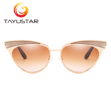 TIIYUSTAR New Arrival Metal Cateye Sunglasses Women Luxury Brand Designer Vintage Gradient Fashion Cat eye UV400