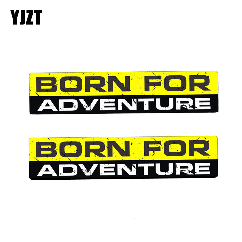 YJZT 2X 15CM*3CM Personality BORN FOR ADVENTURE Funny Body Car Sticker PVC Decal 12-0050
