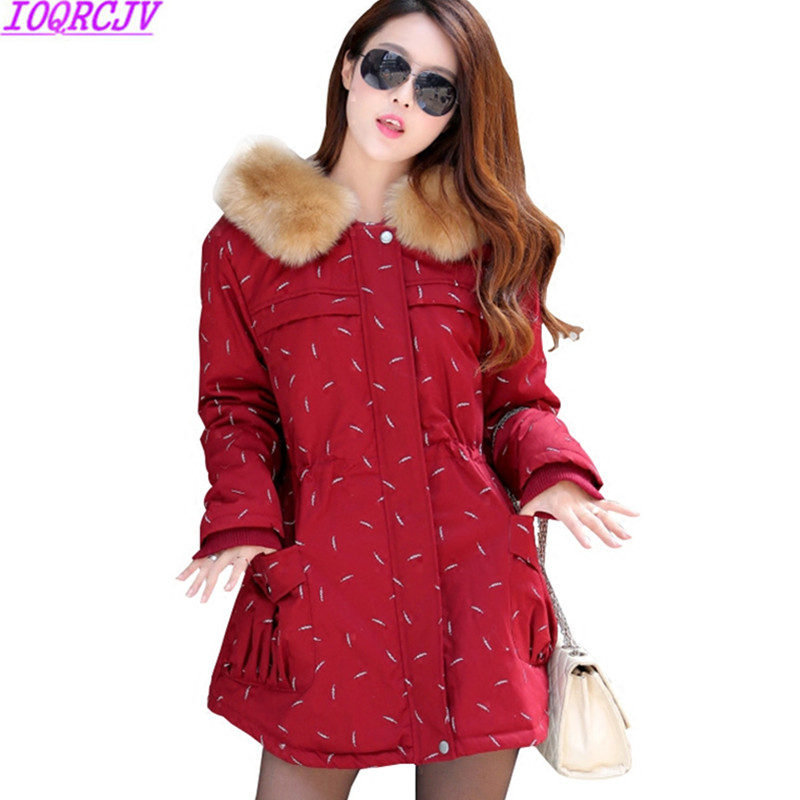 Plus Size XL-4XL Women Cotton-padded Coat Winter Jacket New Fashion Hooded Fur Collar Print Medium Long Outerwear Women Clothing