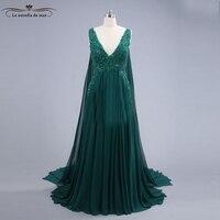 Moroccan kaftan 2018 new chiffon sexy V neck crystal A Line dark green turkish evening gowns real photo Dubai galajurk