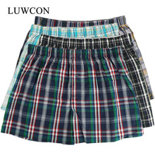 LUWCON Brand 4Pcs/lot Men's Cotton Underwear Boxer Shorts Plaid Loose Comfortable Homewear Panties Casual Sleep Underpants 4pcs plaid