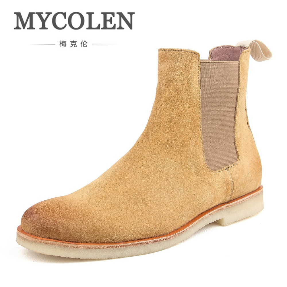 MYCOLEN 2019 Luxury Brand Leather Booties Genuine Leather Chelsea Boots Handmade  Ankle Boots Brown Men Fashion Autumn BootsMYCOLEN 2019 Luxury Brand Leather Booties Genuine Leather Chelsea Boots Handmade  Ankle Boots Brown Men Fashion Autumn Boots