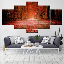 Autumn red fallen leaves forest poster 5 pieces canvas wallpaper modern modular art painting living room home decoration