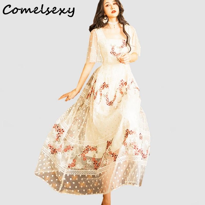 Comelsexy élégant Floral broderie demi manches longue robe 2019 été femmes maille vacances robe Vintage col carré Vestidos