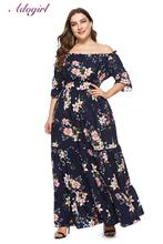 купить Plus Size Dress Elegant Floral Print Boho Wrap Long Dress Women Casual Off Shoulder Short Sleeve Beach Dresses Holiday vestidos по цене 1223.82 рублей