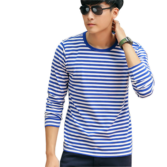 177eb28a4af8 Plus Size Stripe T Shirts Men New Men's Long Sleeve O-Neck Cotton Striped T  Shirt Basic Shirts Fashion Casual Shirt Tee Tops